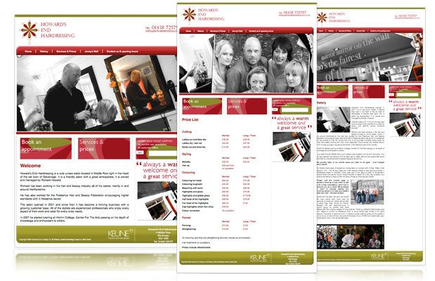 howards end web design portfolio image